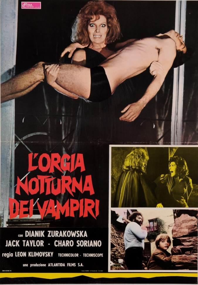 "Original Vintage Italian Movie Poster for ""L'ORGIA NOTTURNA DEI VAMPIRI"" 1975"