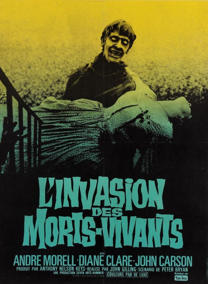 "Original Vintage French Movie Poster for ""L'INVASION DES MORTS - VIVANTS (The Plague of the Zombies)"" 1970's"