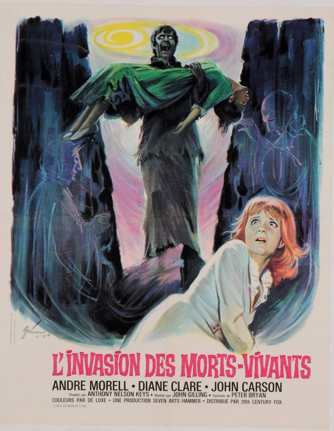 "Original Vintage French Movie Poster for ""L'INVASION DES MORTS - VIVANTS"" by BORIS GRINSSON 1966"