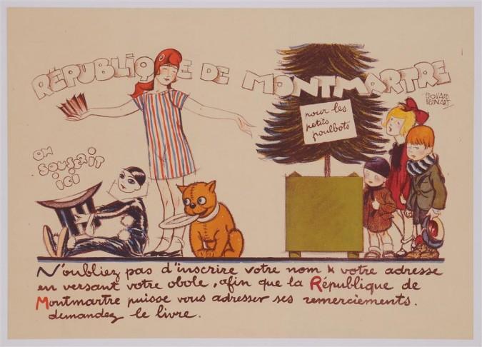 "Original Vintage French Poster for ""Republique de Montmartre"" by Edouard Bernart ca. 1920"