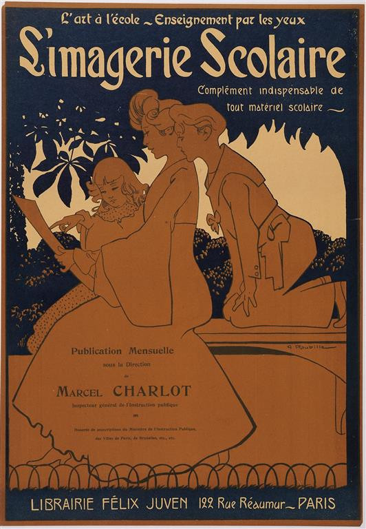 """Original Vintage French Poster for """"Simagerie Scolaire"""" by A. Roubille ca. 1900"""