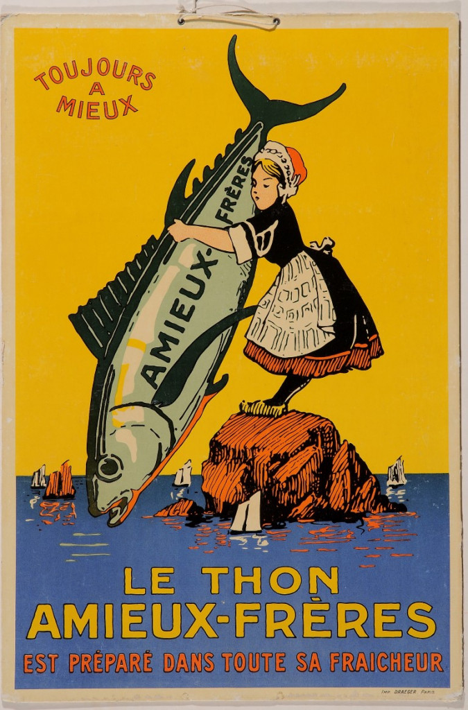 """Original Vintage French Cardboard Poster for """"Le Thon Amieux-Freres"""" ca. 1900"""