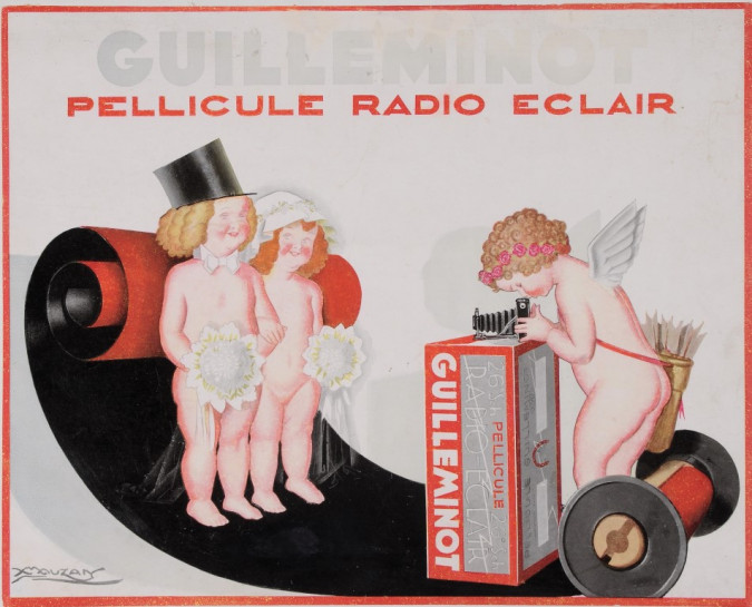 "Original Vintage Italian Children Poster ""Guilleminot Radio Eclair"" by Mauzan"