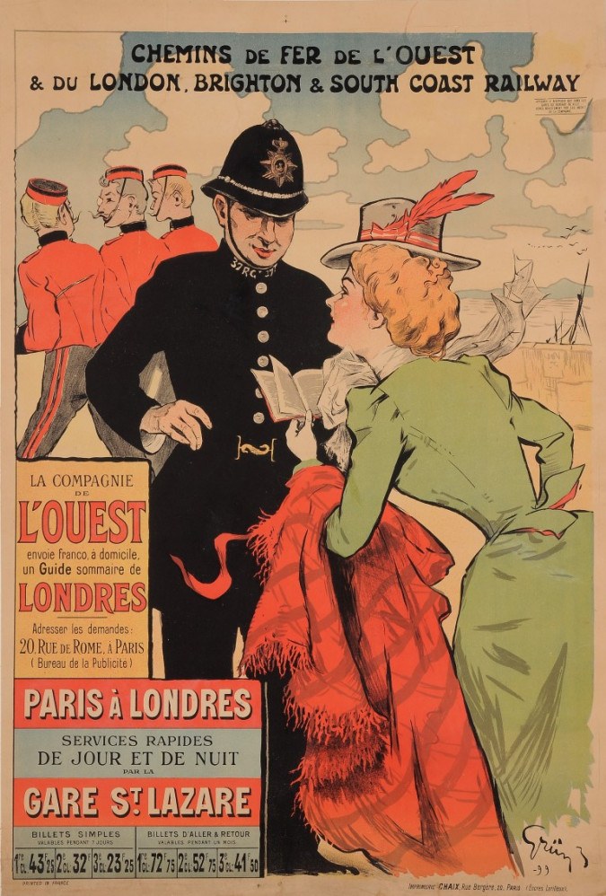 """Original Vintage French Travel Poster for """"Paris a Londres"""" by Grun 1899"""