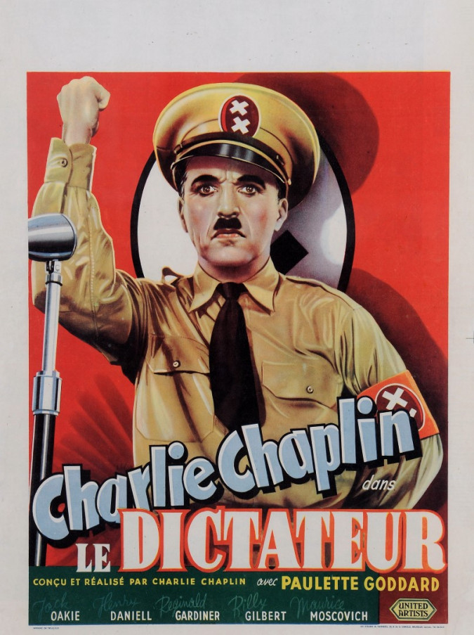"""Original Vintage Charlie Chaplin Belgian Movie Poster """"La Dictateur"""" 1940"""