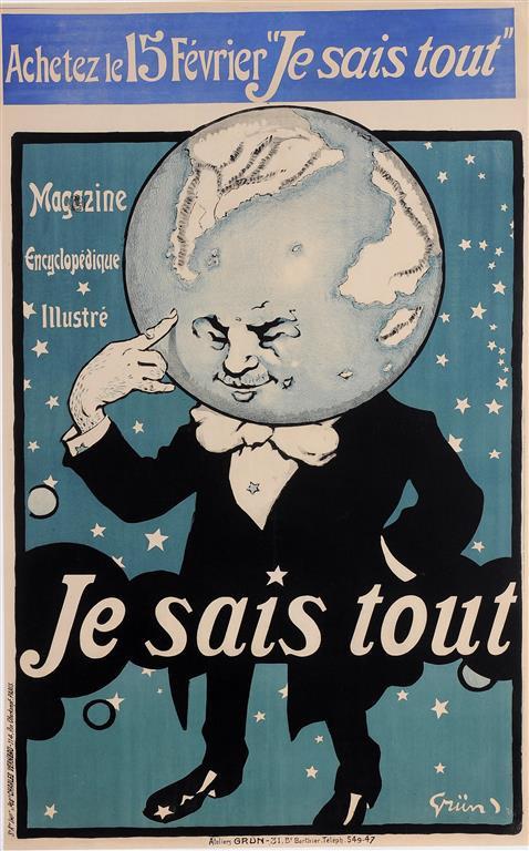 """Original Vintage French Poster """"Je Saia Tout"""" by Grun. 1905 -Version"""