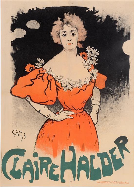 "Original Vintage French Poster ""Claire Halder"" by Grun. 1898"