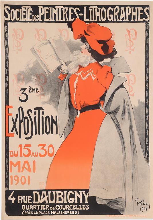 "Original Vintage French Poster ""Societe des Peintres - Lithographes"" by Grun.  1901"