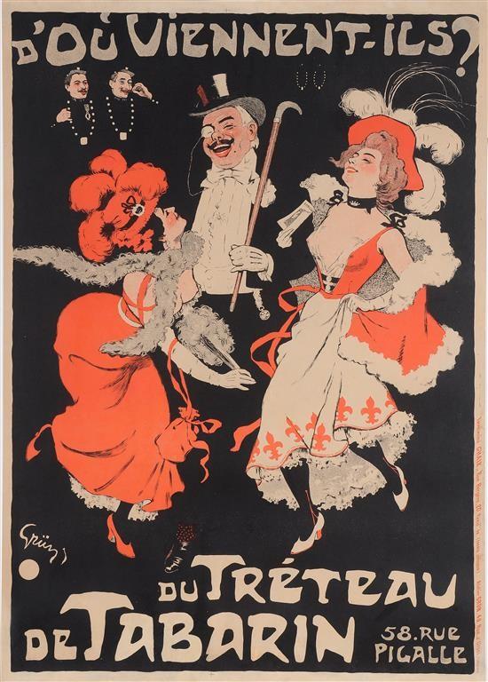 """Original Vintage French Poster """"D'Ou Vennent-Ils? Du Treteau de Tabarin"""" by Grun 1898"""