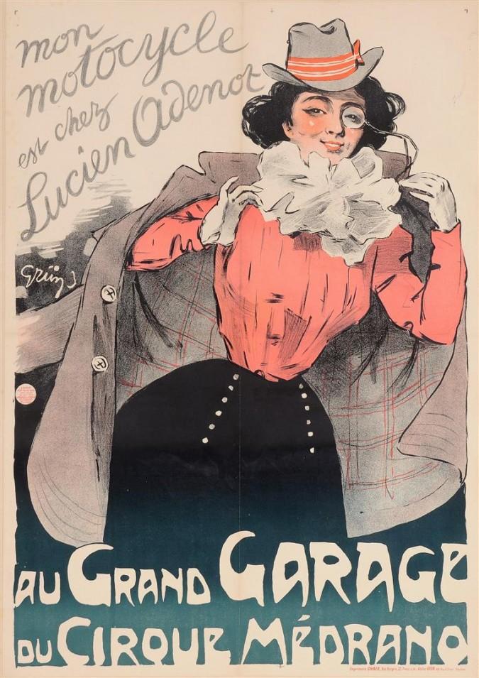 "Original Vintage French Poster ""Au Grand Garage du Circque Medrano"" by Grun 1899"