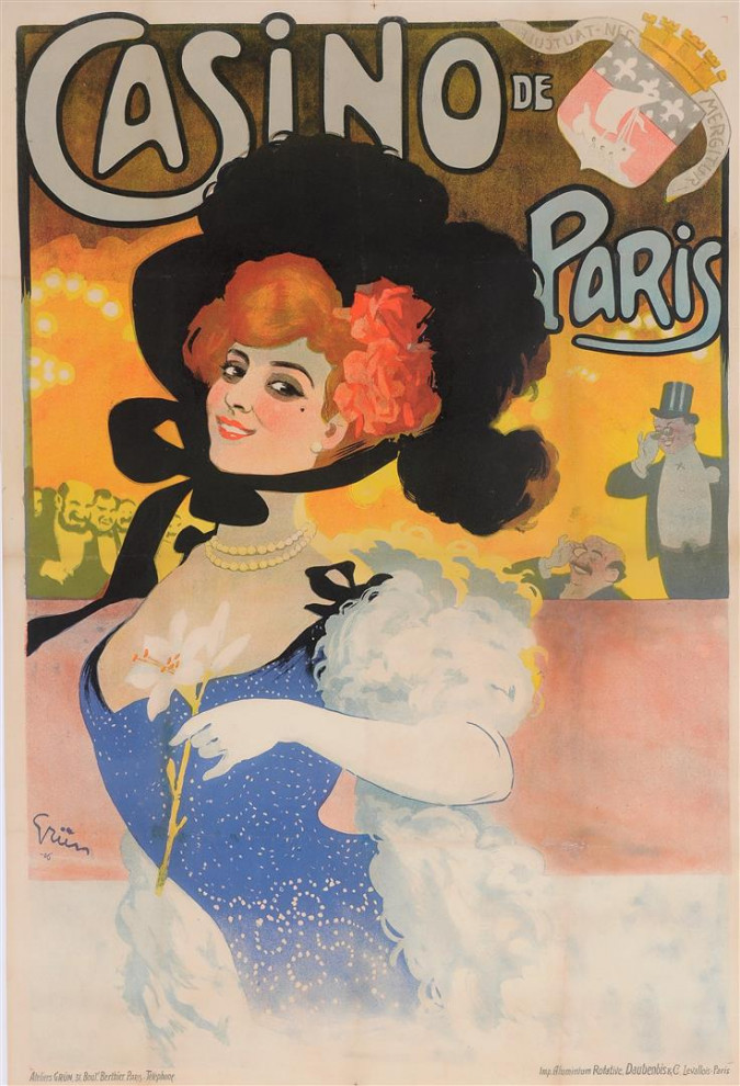 "Original Vintage French Poster ""Casino de Paris - Reouverture"" by Grun 1906"