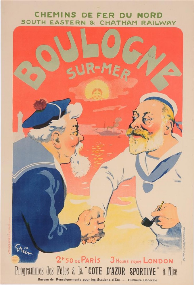 """Original Vintage French Poster """"Boulogne-Sur-Mer"""" by Grun 1906"""