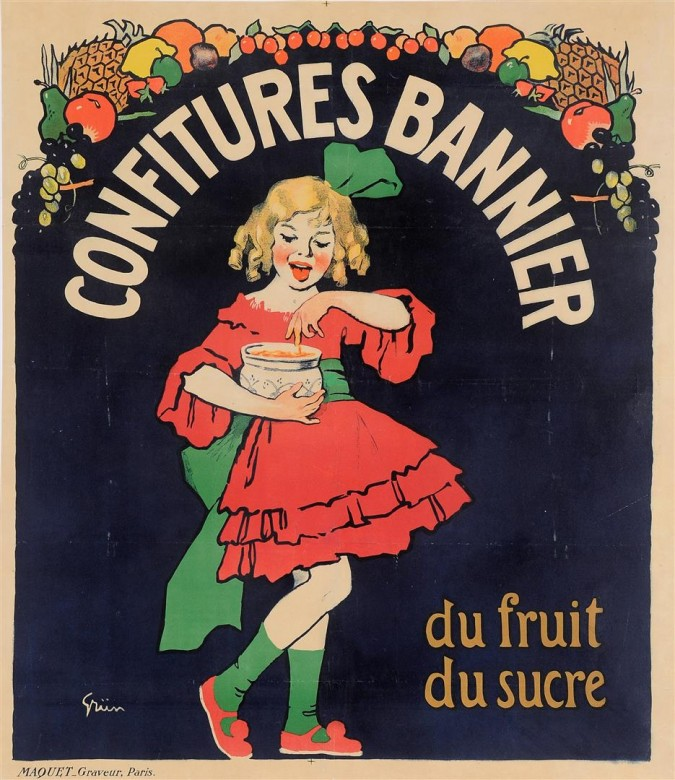 "Original Vintage French Poster ""Confitures Bannier"" by Grun 1910"