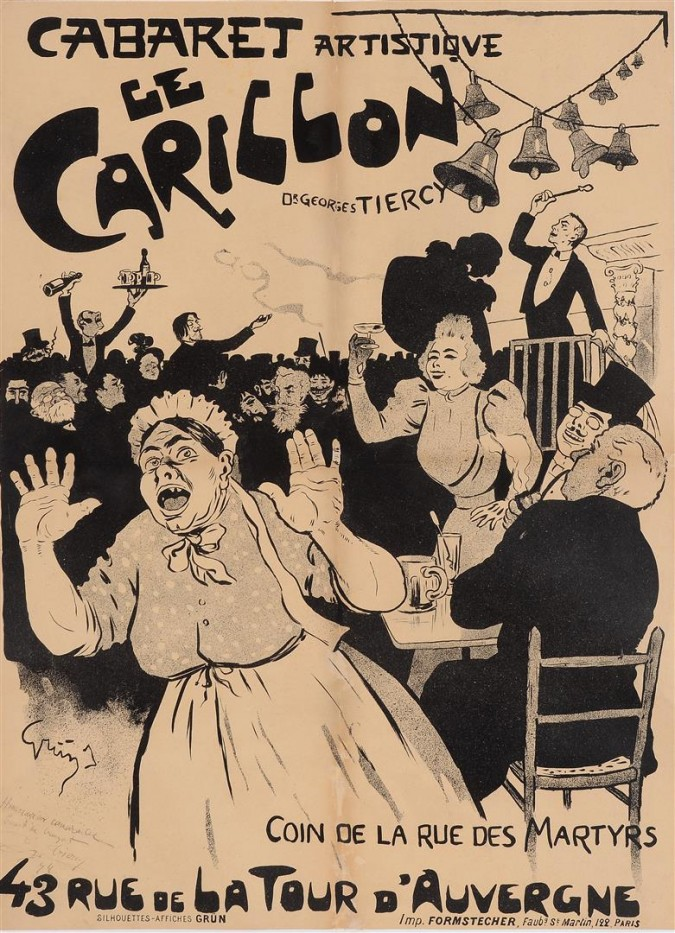 """Original Vintage French Poster """"Le Carillon"""" by Grun 1894"""