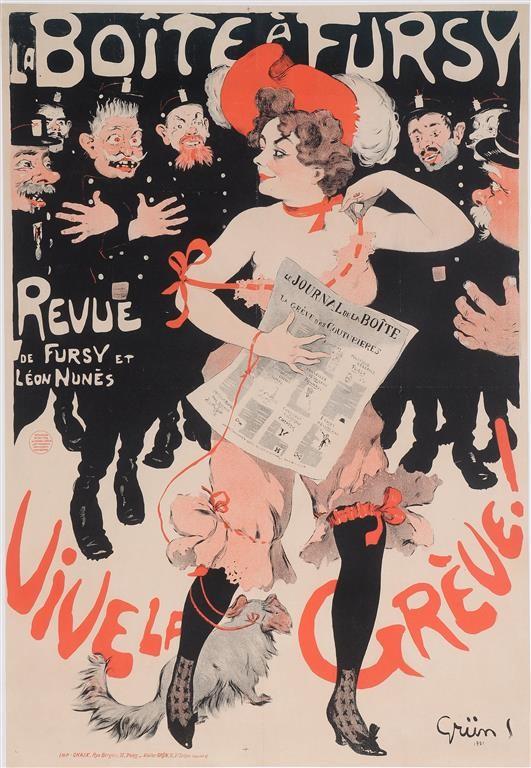 "Original Vintage French Poster ""La Boite a' Fursy - Revue"" by Grun. 1901"