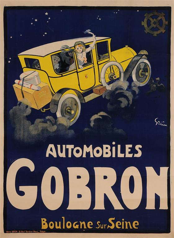 "Original Vintage French Poster ""Automobiles Gobron"" by Grun ca. 1900"