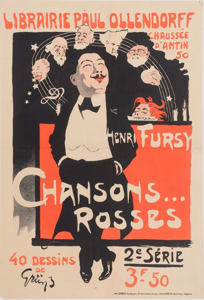 """Original Vintage French Poster """"Henry Fursy Chansons Rosses"""" by Grun 1899"""