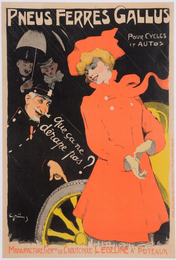"""Original Vintage French Poster """"Pneus Ferres Gallus"""" by Grun 1901"""