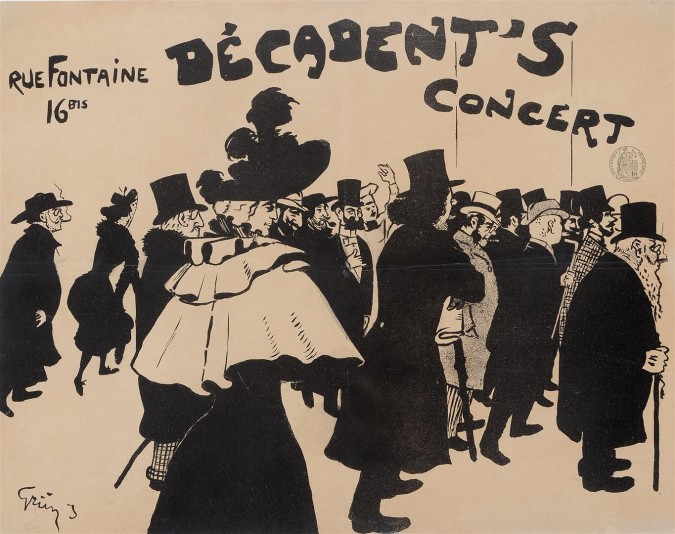"""Original Vintage French Poster """"Decadent's Concert"""" by Grun 1893/1894"""