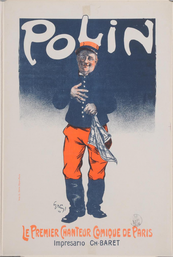 """Original Vintage French Poster """"Polin"""" by Grun 1900"""