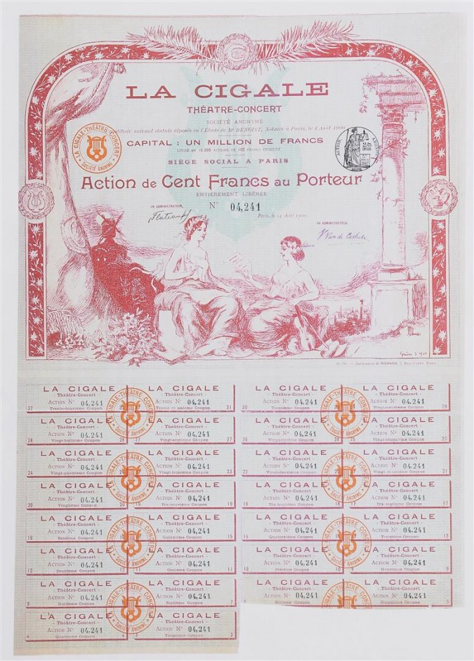 """Original Vintage French Poster """"La Cigale"""" Multiple-Entry Ticket by Grun ca. 1900"""