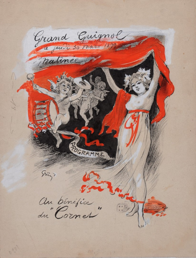 "Original Vintage French Maquette for ""Grand Guignol"" by Grun - EXTREMELY RARE 1899"