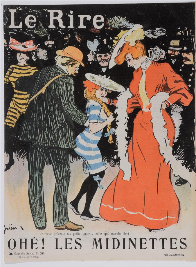 """Original Vintage French Poster for """"Le Rire"""" Magazine Cover by Grun 1903"""
