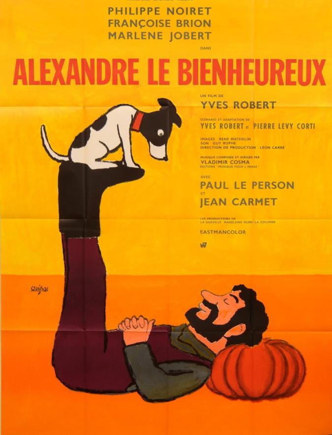 """Original Vintage French Movie Poster """"Alexandre le Bienheureux"""" by Savignac 1967"""