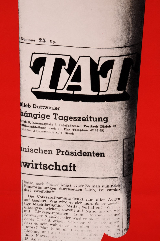 "Original Vintage Swiss Poster for DIE TAT (""The Fact"" Independent Swiss Newspaper)"