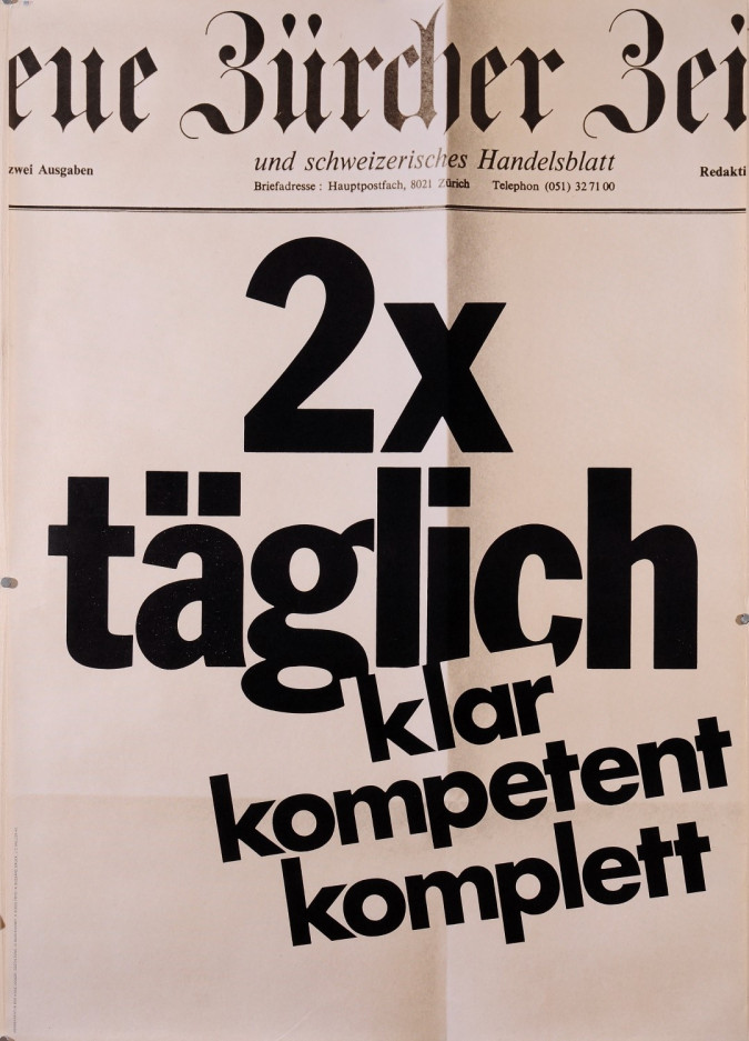 Original Vintage Swiss Poster for Neue Burcher Zeitung newspaper