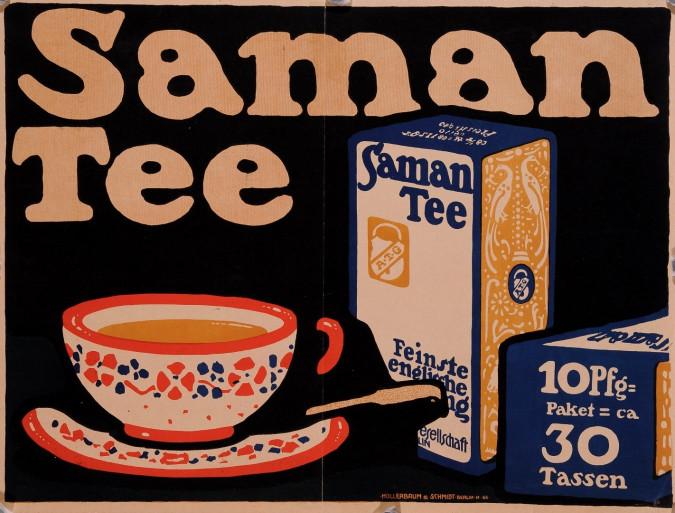 "Original Vintage German Poster for ""Saman Tee"""