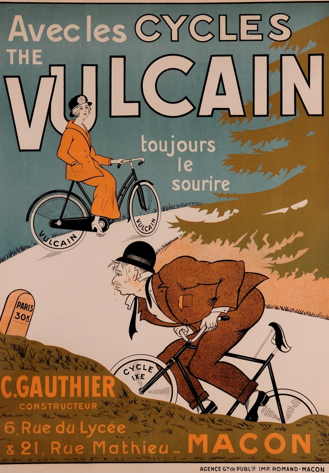 "Original Vintage Advertising French Poster for  ""Vulcain"" bicycles bikes"