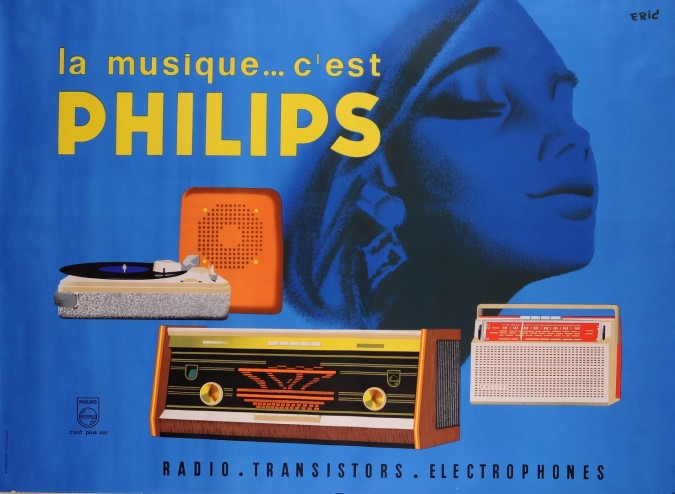 "Original Vintage French Advertising Poster for ""Philips"" Products"