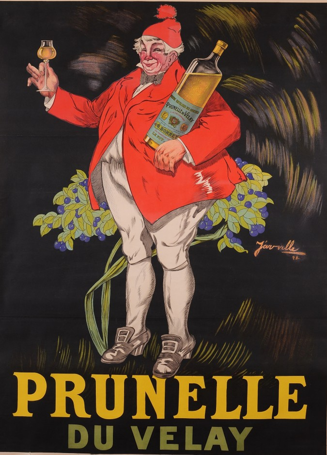 "Original Vintage French Poster for The Wine ""Prunelle du Velay"""