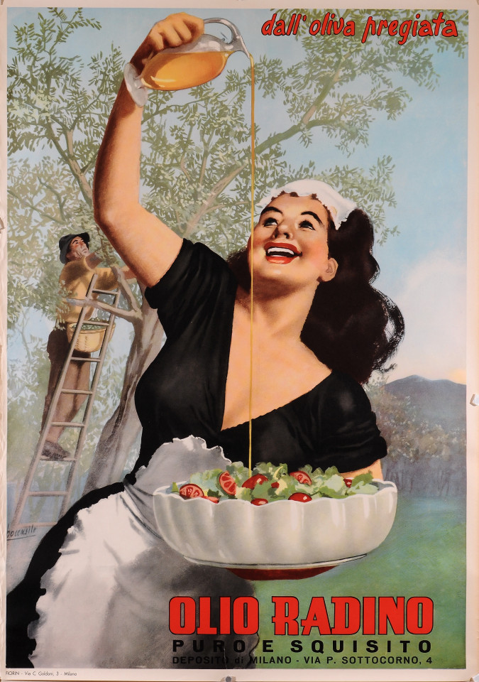 "Original Vintage Italian Poster for ""Olio Radino"" Olive Oil by Boccasile"