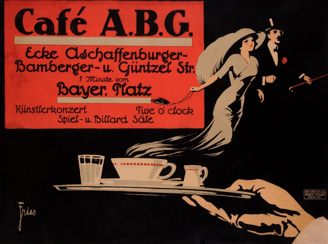 Original Vintage German Poster for Cafe A.B.G. by Fries