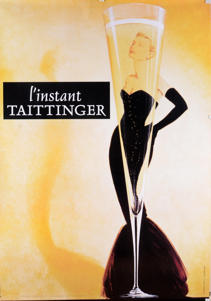 "Vintage French Poster for Champaign ""L'INSTANT TAITTINGER"" 1988"