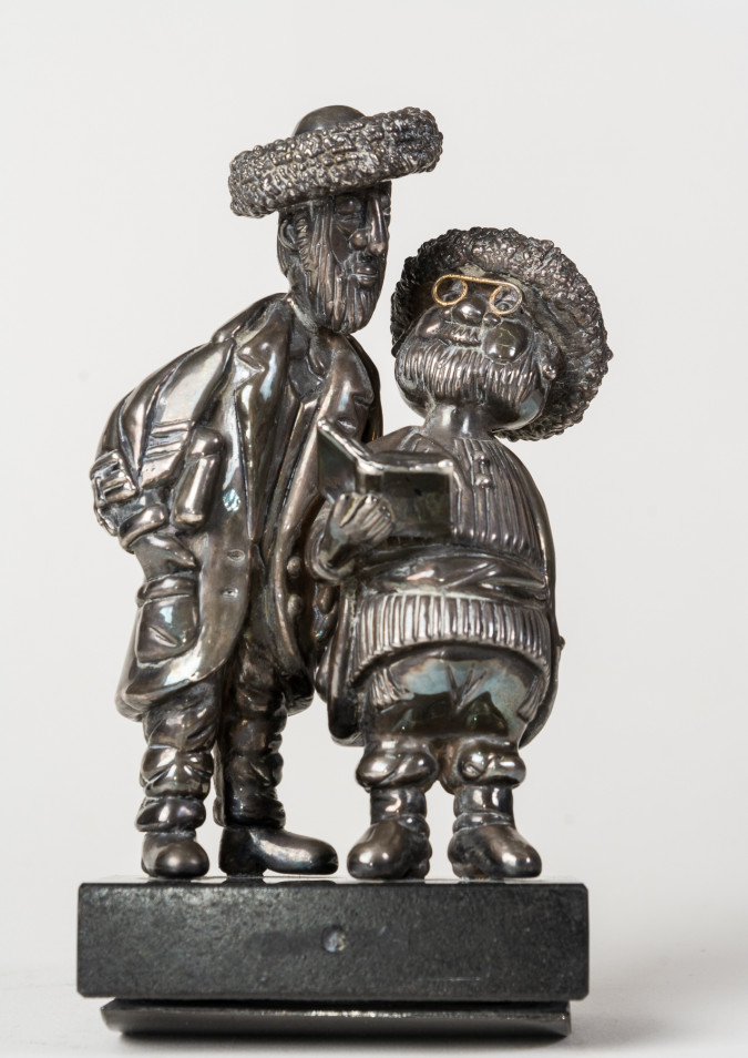 Frank Meisler Vintage Silver and Marble  Sculpture of a Chasidic Jewish Figures. Signed and Numbered 225/980