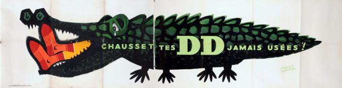 """Original Vintage French Poster for """"DD"""" chausset DD jamais usées 2 Parts."""