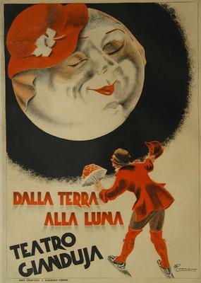 Vintage Antique Old Italian Theatre Poster