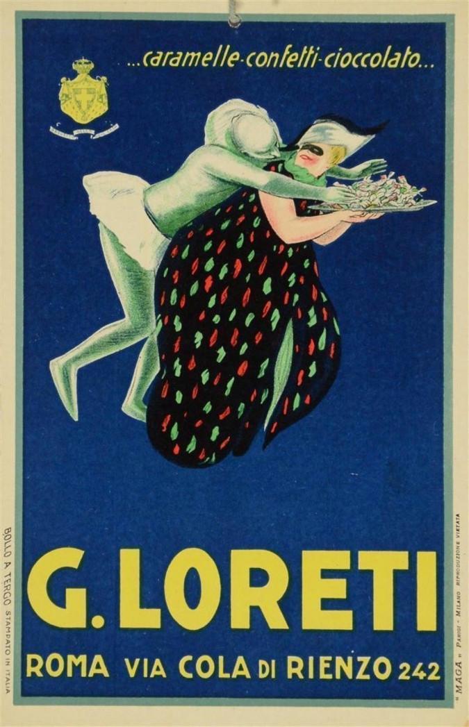 Vintage Italian Advertising Poster  LORETI Cheese ROMA VIA COLA DI RIENZO