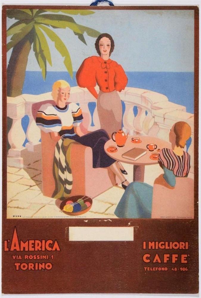 Original Vintage Italian TRAVEL Advertising Cardboard Poster - L'AMERICA 1940's