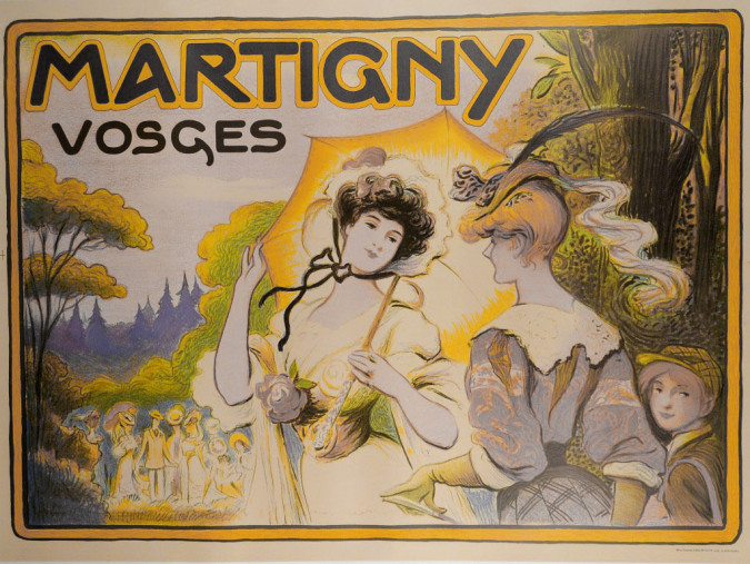 "Reprint Vintage French Travel Poster for ""Martigny"" by LUCIEN METIVET 1990's"