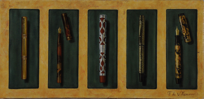 Original French Painting Fountaen A Collection of Pens by Fabrice de Villeneuve