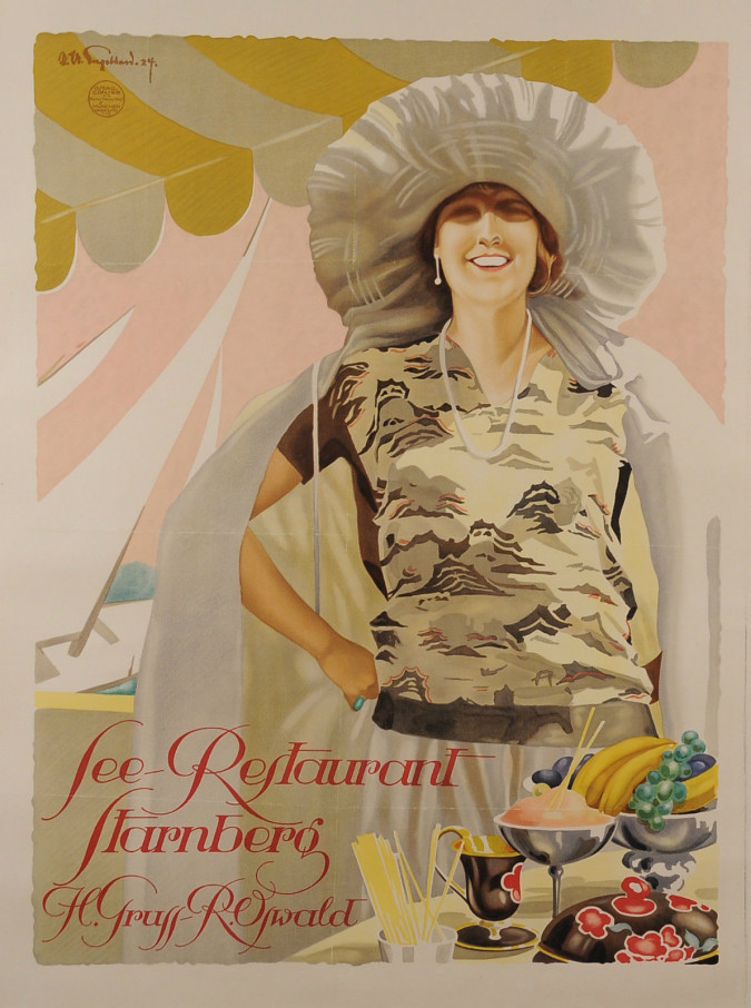 "Original Vintage German Poster ""See Restaurant Starnberg"" ca. 1925."