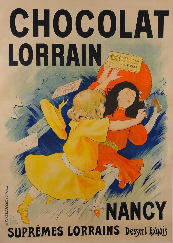 """Original Vintage Chocolate Advertising Poster """"Chocolat Lorrain"""""""
