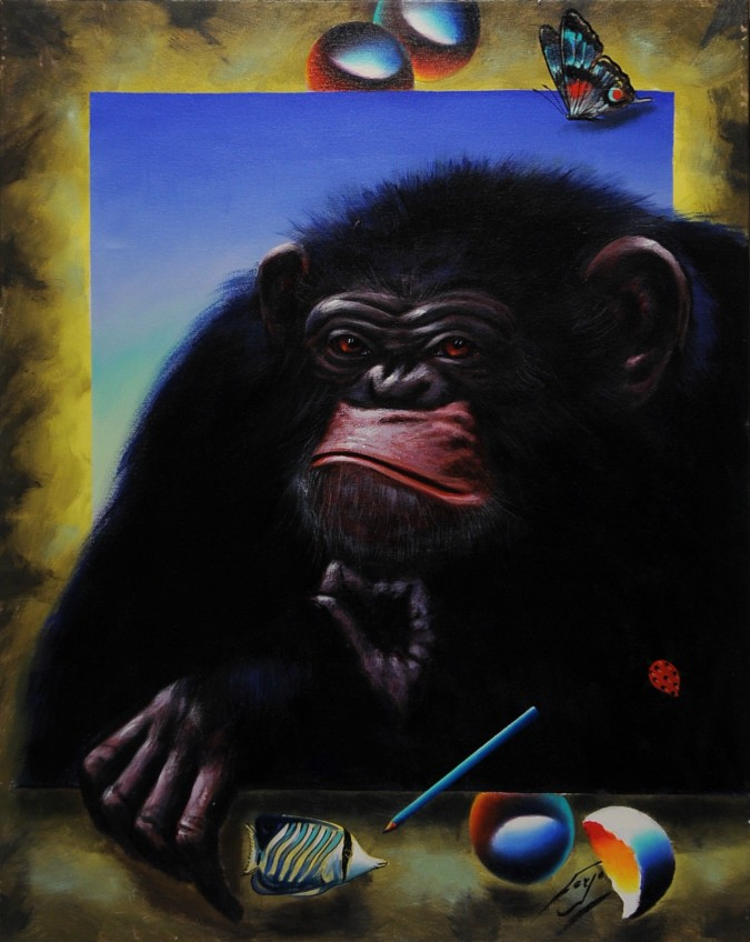 """Original Acrylic on Canvas """" The Monky"""" by Ferjo"""