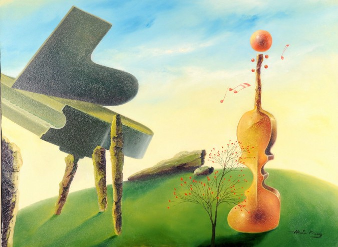 """Original Acrylic on canvas Painting by Hei Feng """"The Lonely Piano"""""""