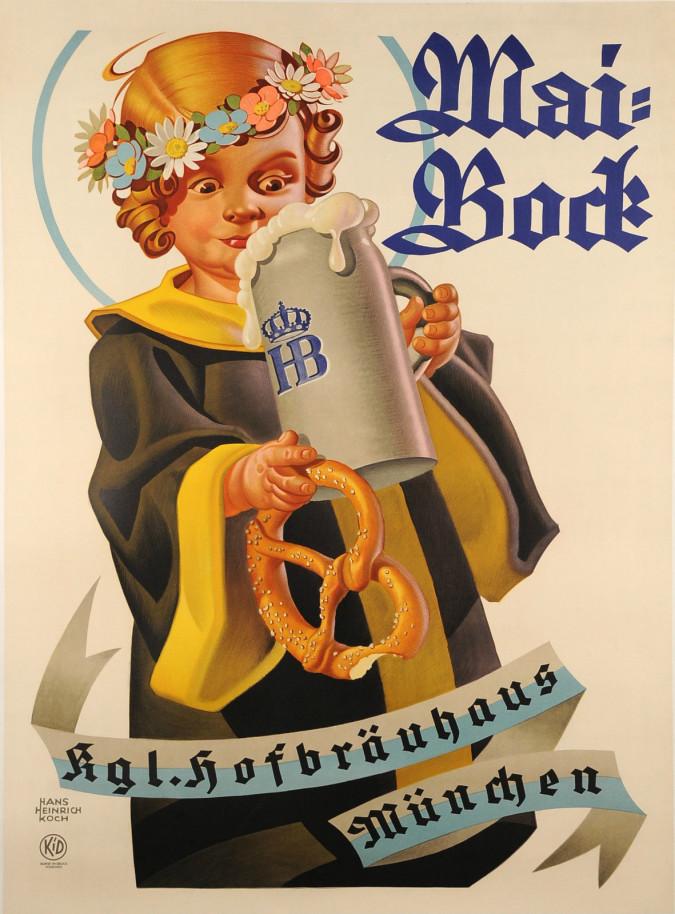 "Original Vintage German Bavarian Beer Ad Poster ""Mai Bock"" by Hans Heinrich Koch"