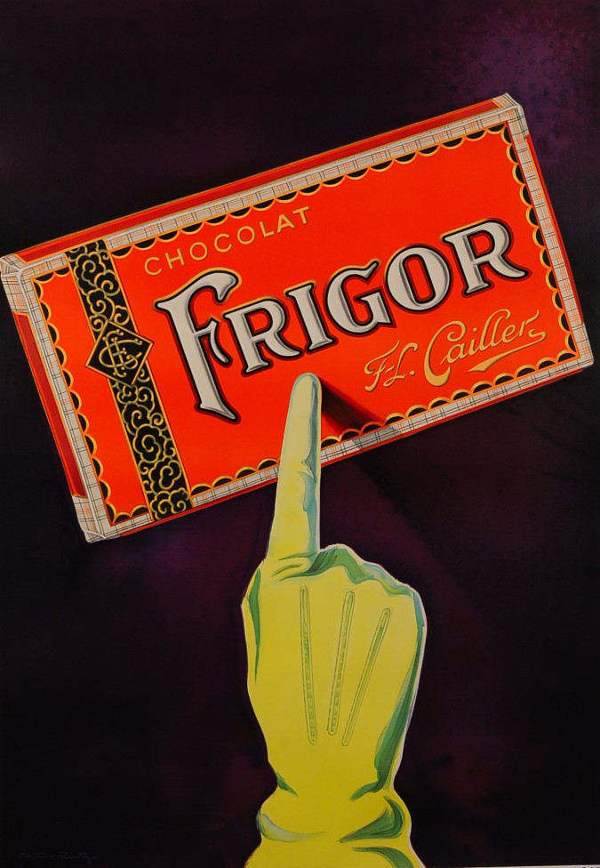 """French Chocolate Advertisement Poster """"Chocolat FRIGOR - Cailler"""""""